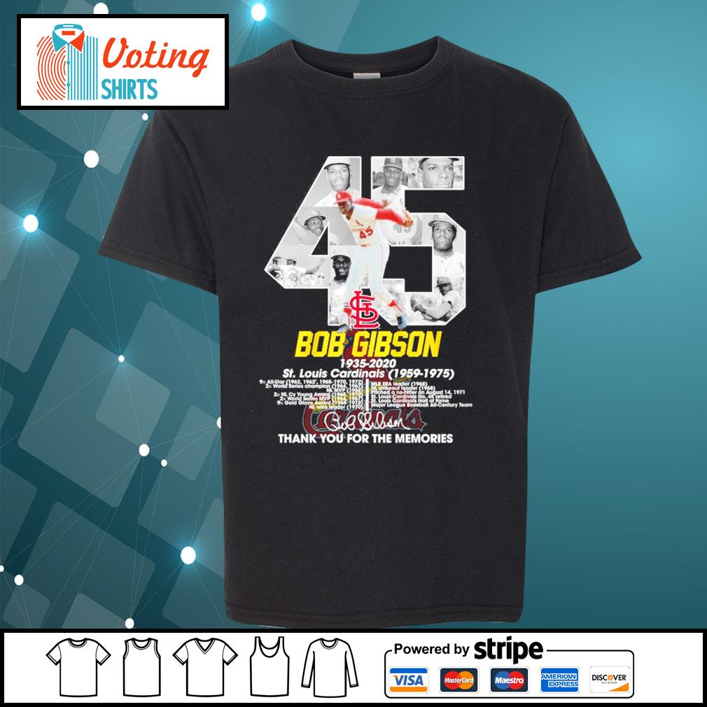 45 Bob Gibson 1935-2020 thank you for the memories s youth-tee