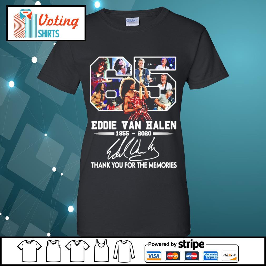 65 Eddie Van Halen 1955-2020 thank you for the memories s ladies-tee