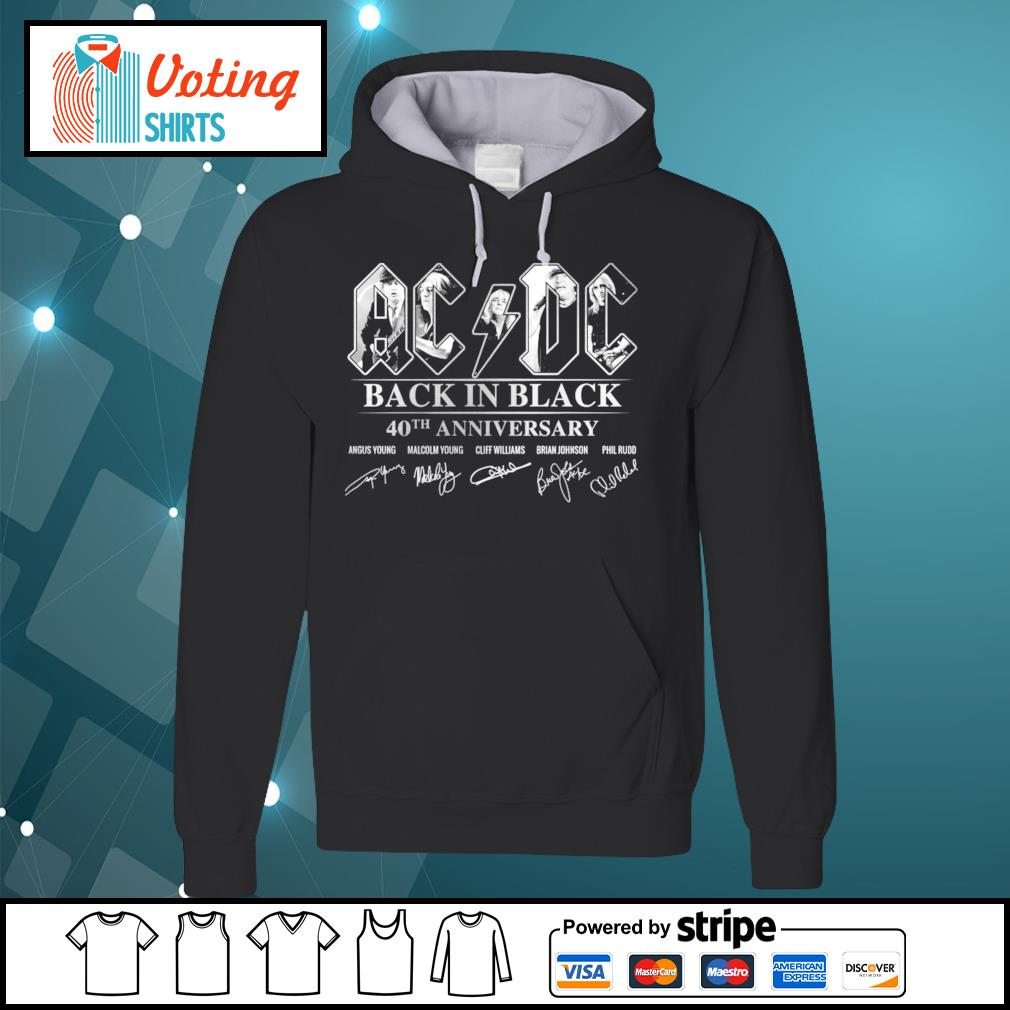 ACDC black in black 40th anniversary signatures s hoodie