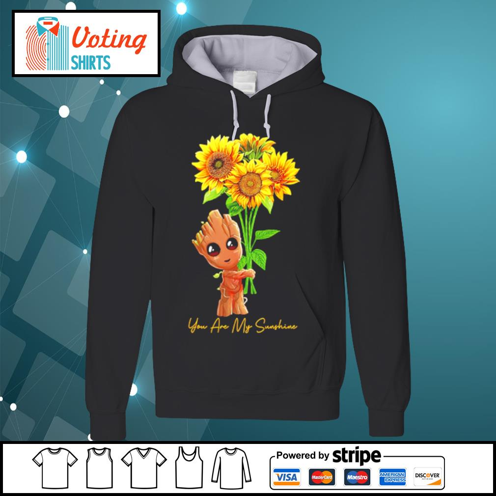 Baby Groot hugging sunflower you are my sunshine s hoodie