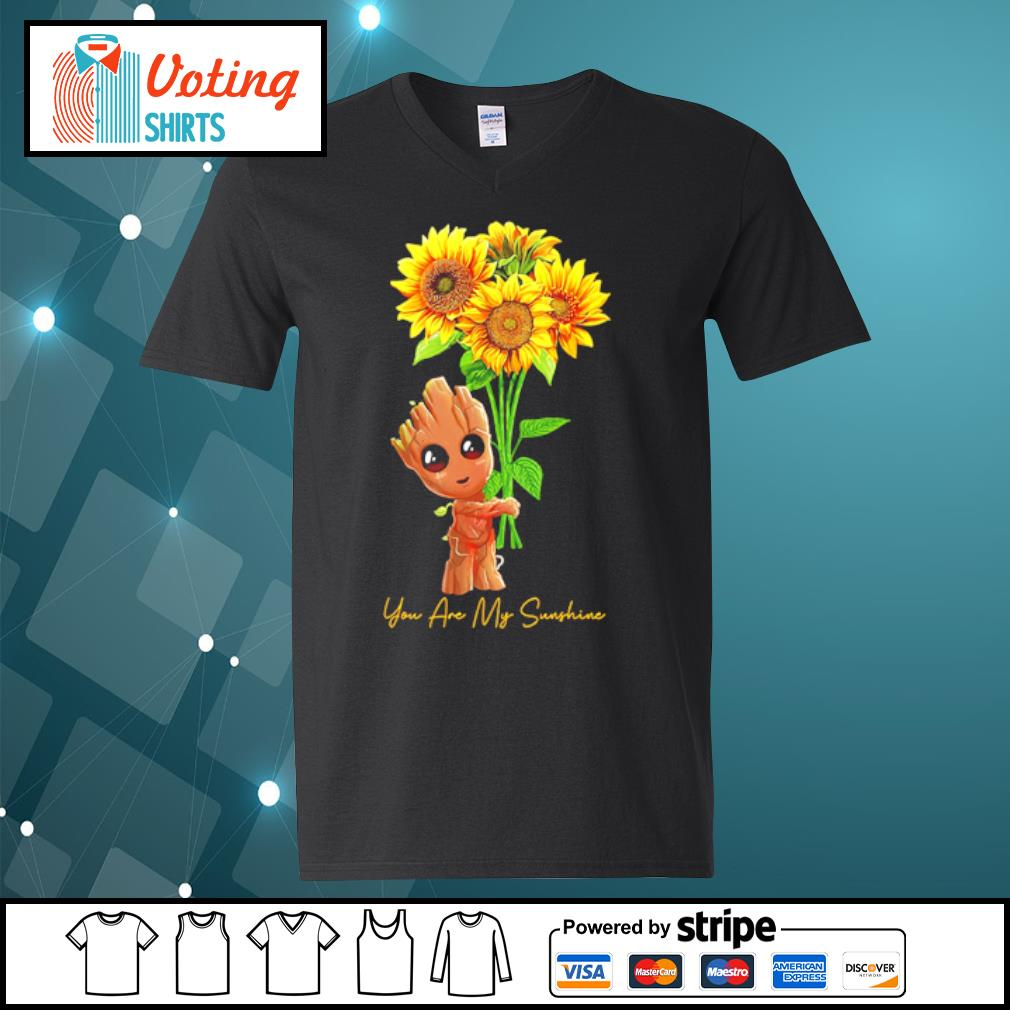 Baby Groot hugging sunflower you are my sunshine s v-neck-t-shirt