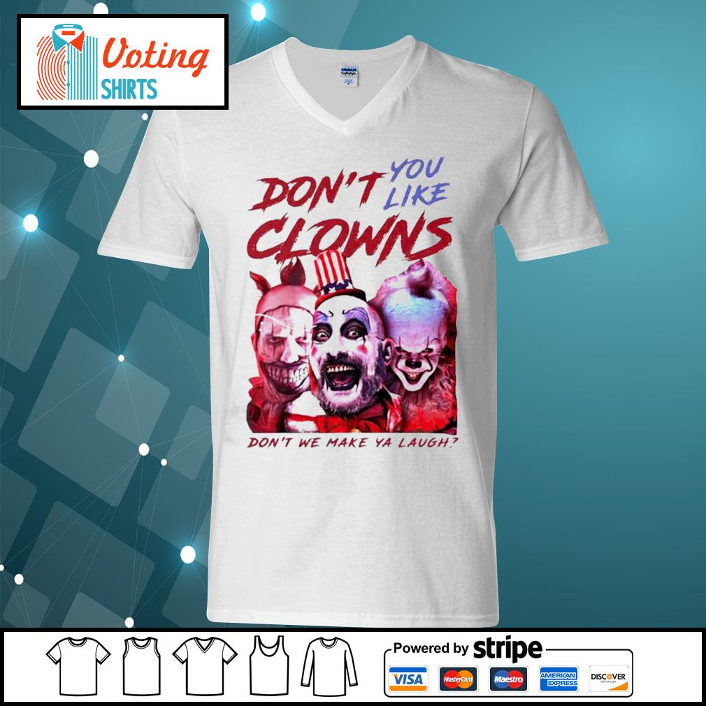 Clown Captain Spaulding and Pennywise don't you like clowns don't we make ya laugh s v-neck-t-shirt