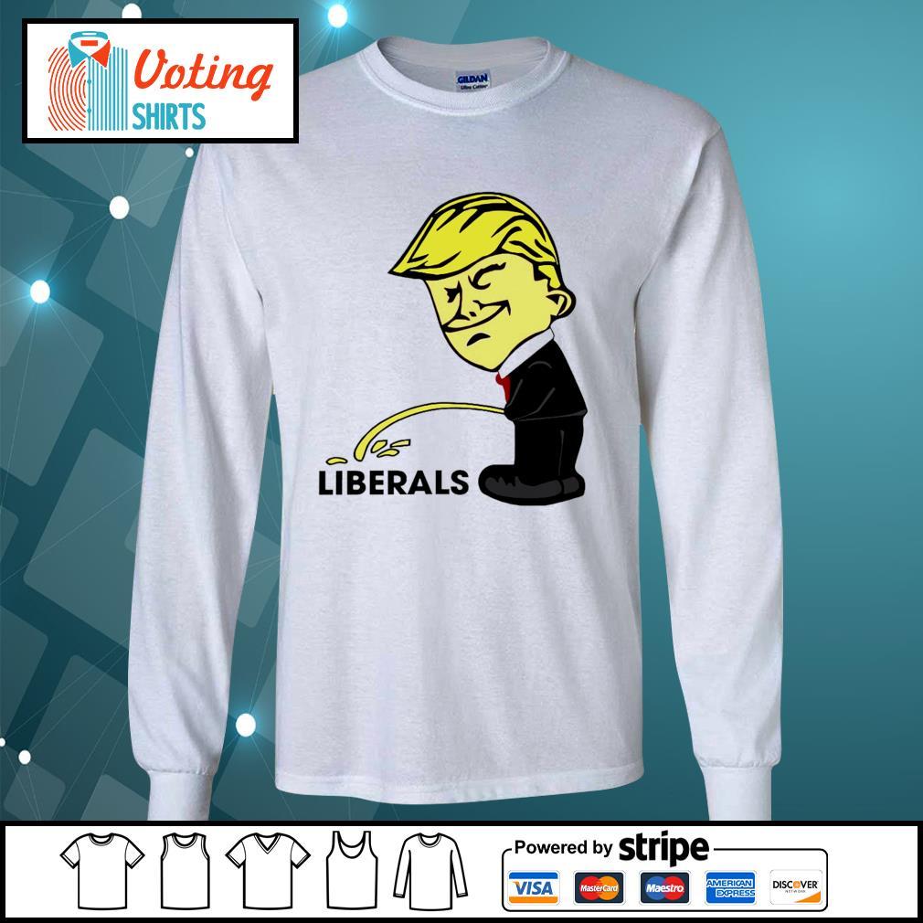 Donald Trump peeing on liberals s longsleeve-tee