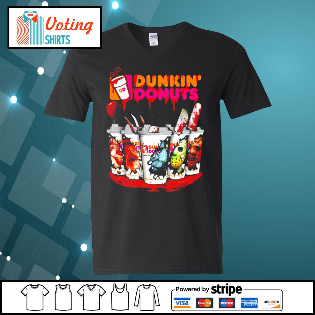 Dunkin' Donuts horror characters Tumbler cup s v-neck-t-shirt