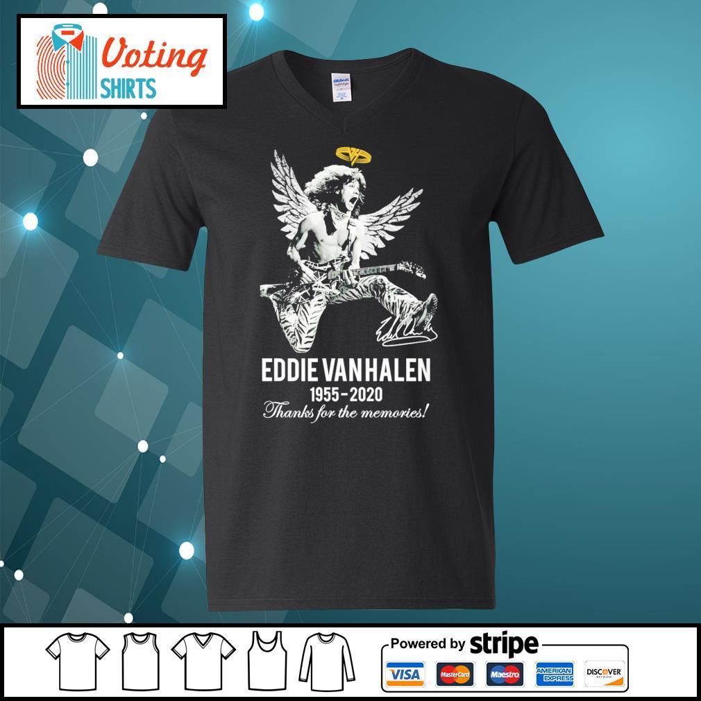 Eddie Van Halen 1955-2020 thanks for the memories s v-neck-t-shirt