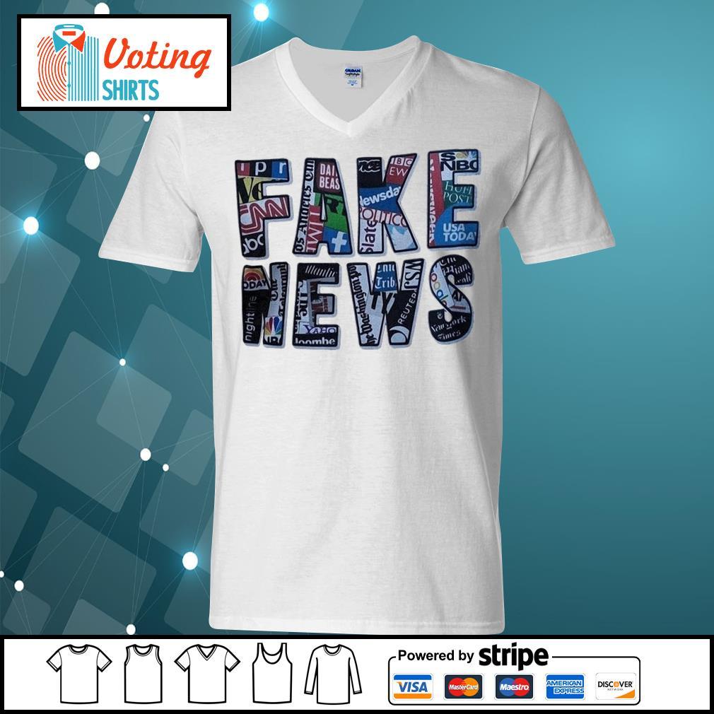 Fake news social network s v-neck-t-shirt