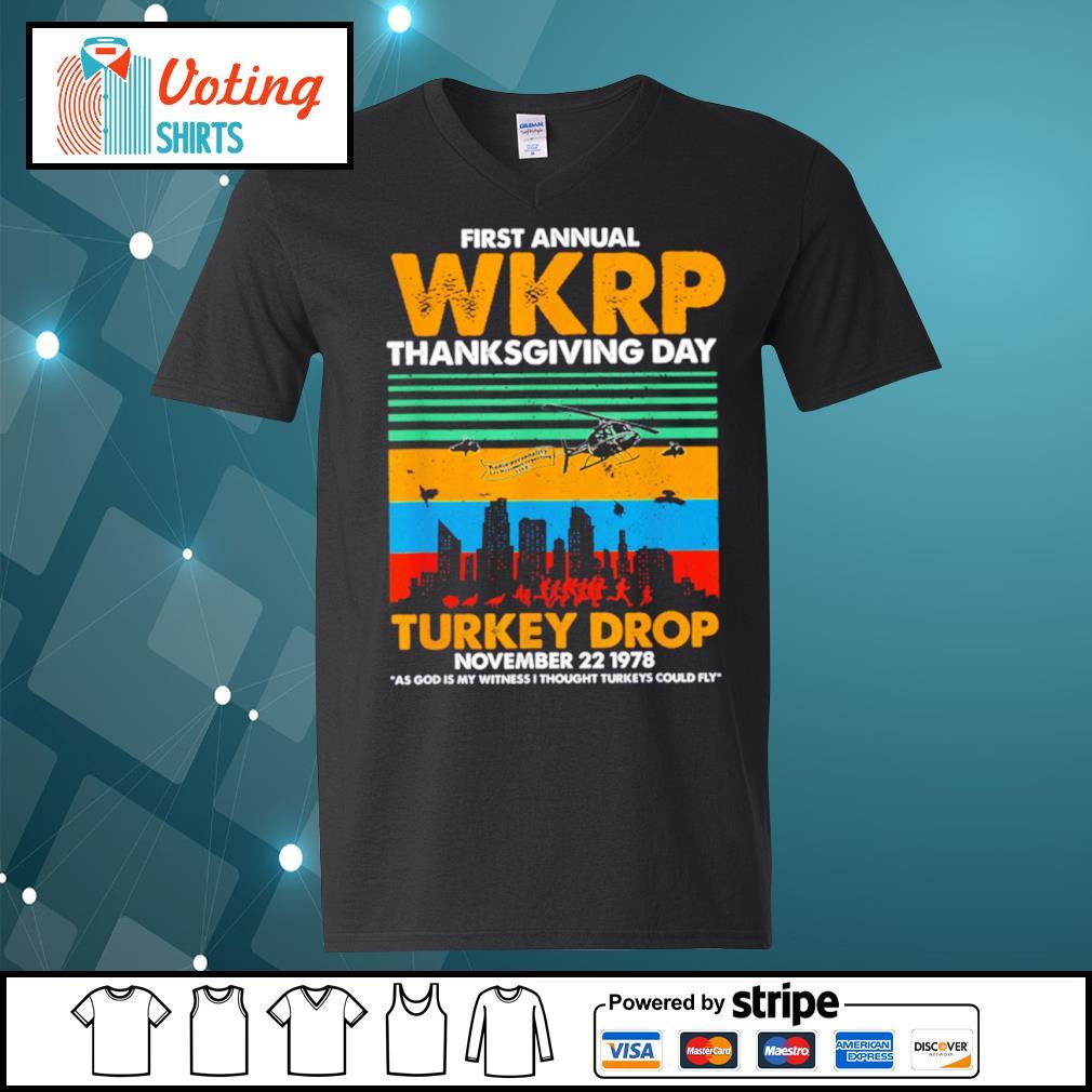 First annual WKRP thanksgiving day turkey drop November 22 1978 vintage s v-neck-t-shirt