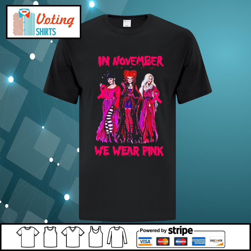 Hocus Pocus breast cancer Awareness in November we wear pink shirt