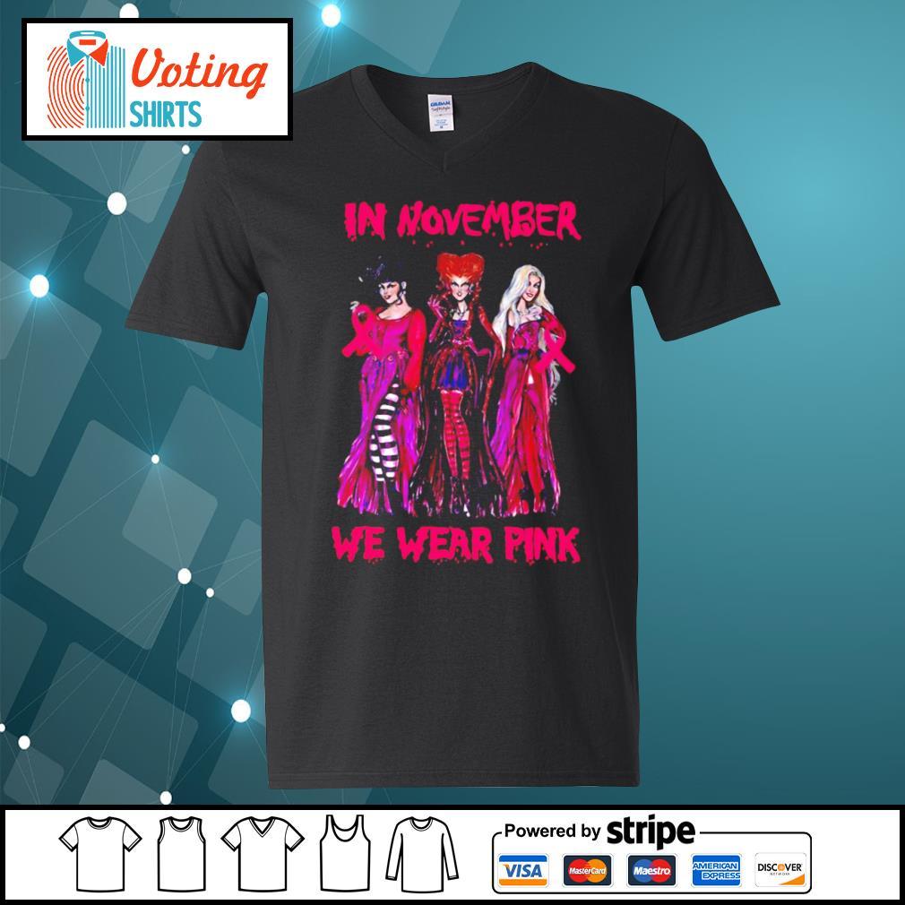Hocus Pocus breast cancer Awareness in November we wear pink s v-neck-t-shirt