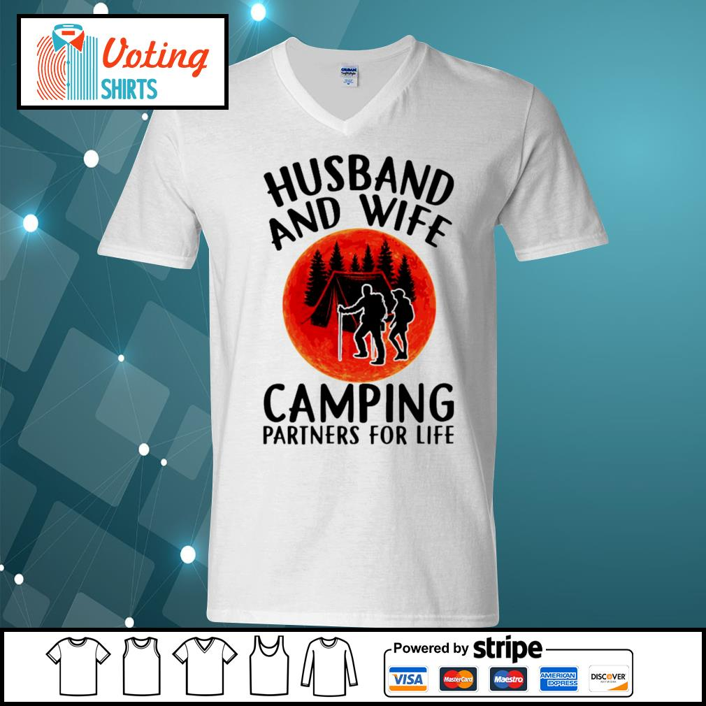 Husband and wife camping partners for life s v-neck-t-shirt