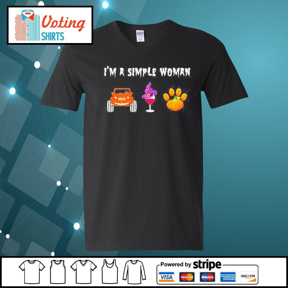 I'm a simple woman love Jeep wine animal Halloween s v-neck-t-shirt
