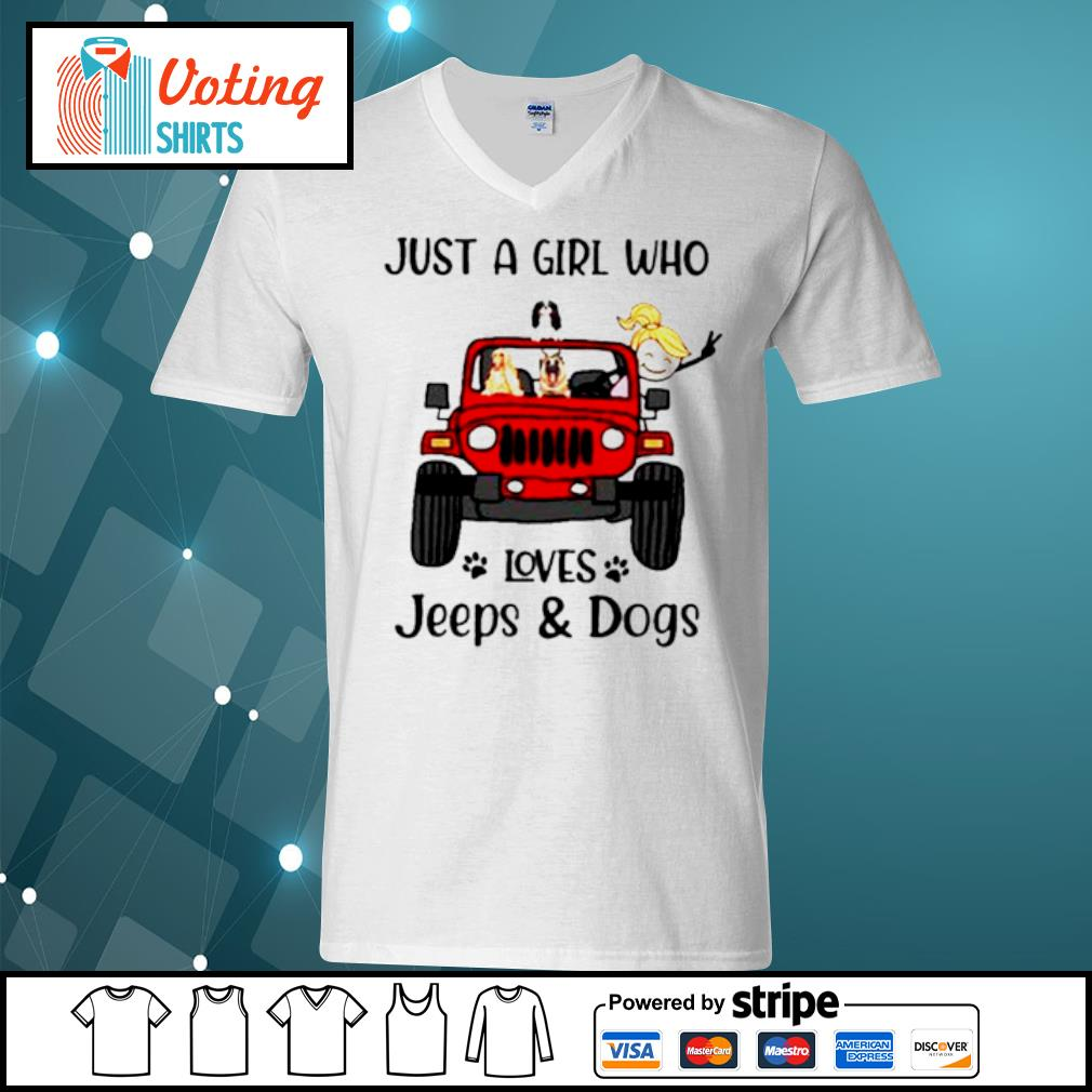 Just a girl who loves Jeeps and dogs s v-neck-t-shirt