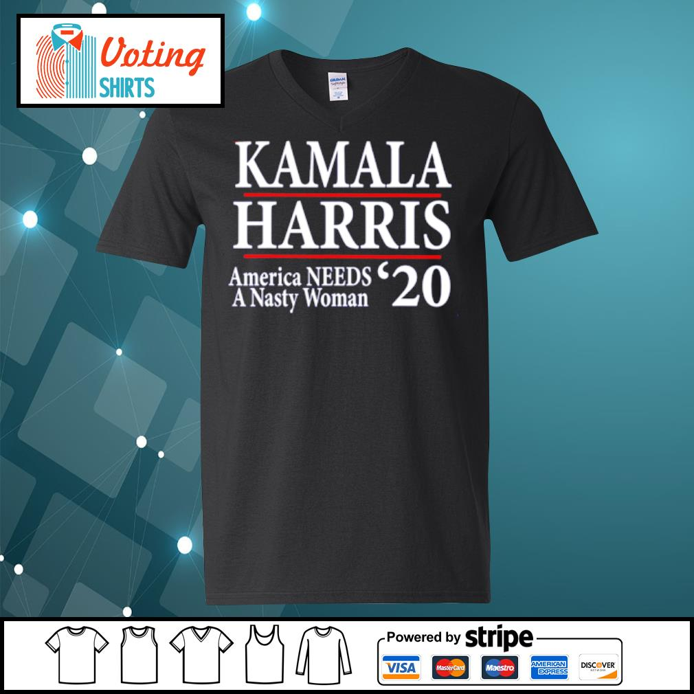 Kamala Harris American needs a nasty woman 2020 s v-neck-t-shirt