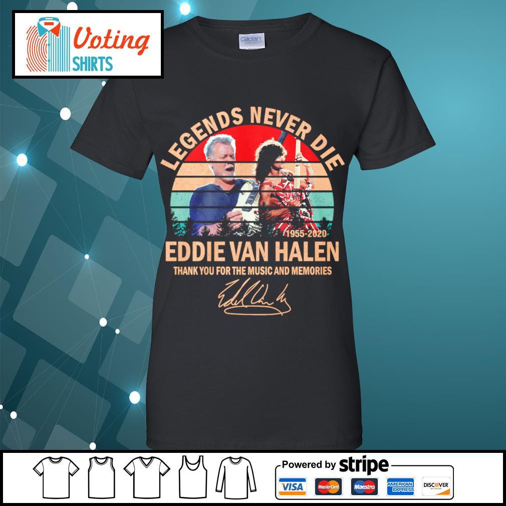 Legends never die Eddie Van Halen thank you for the memories vintage s ladies-tee