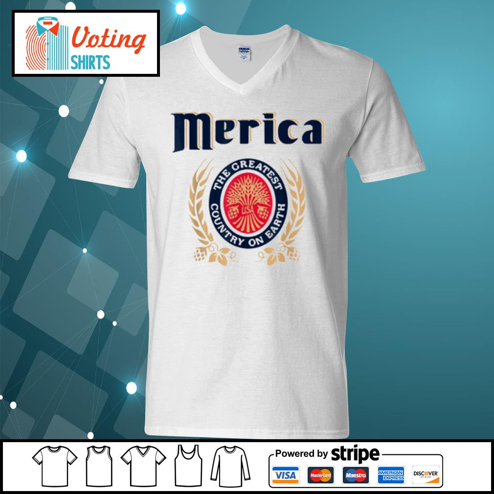 Merica the greatest country on earth Beer lovers s v-neck-t-shirt
