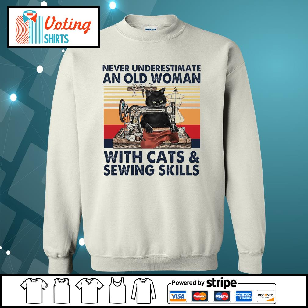 Never underestimate an old woman with cats and sewing skills vintage s sweater