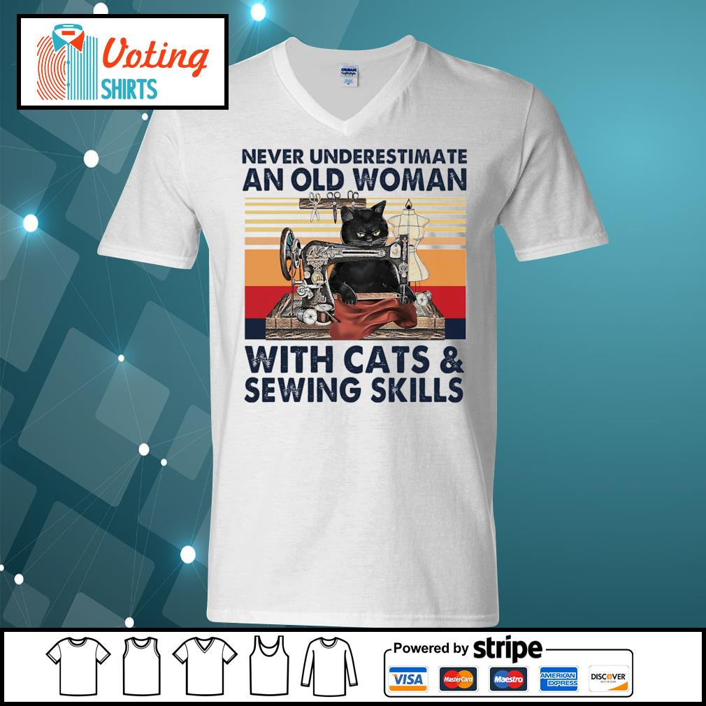 Never underestimate an old woman with cats and sewing skills vintage s v-neck-t-shirt
