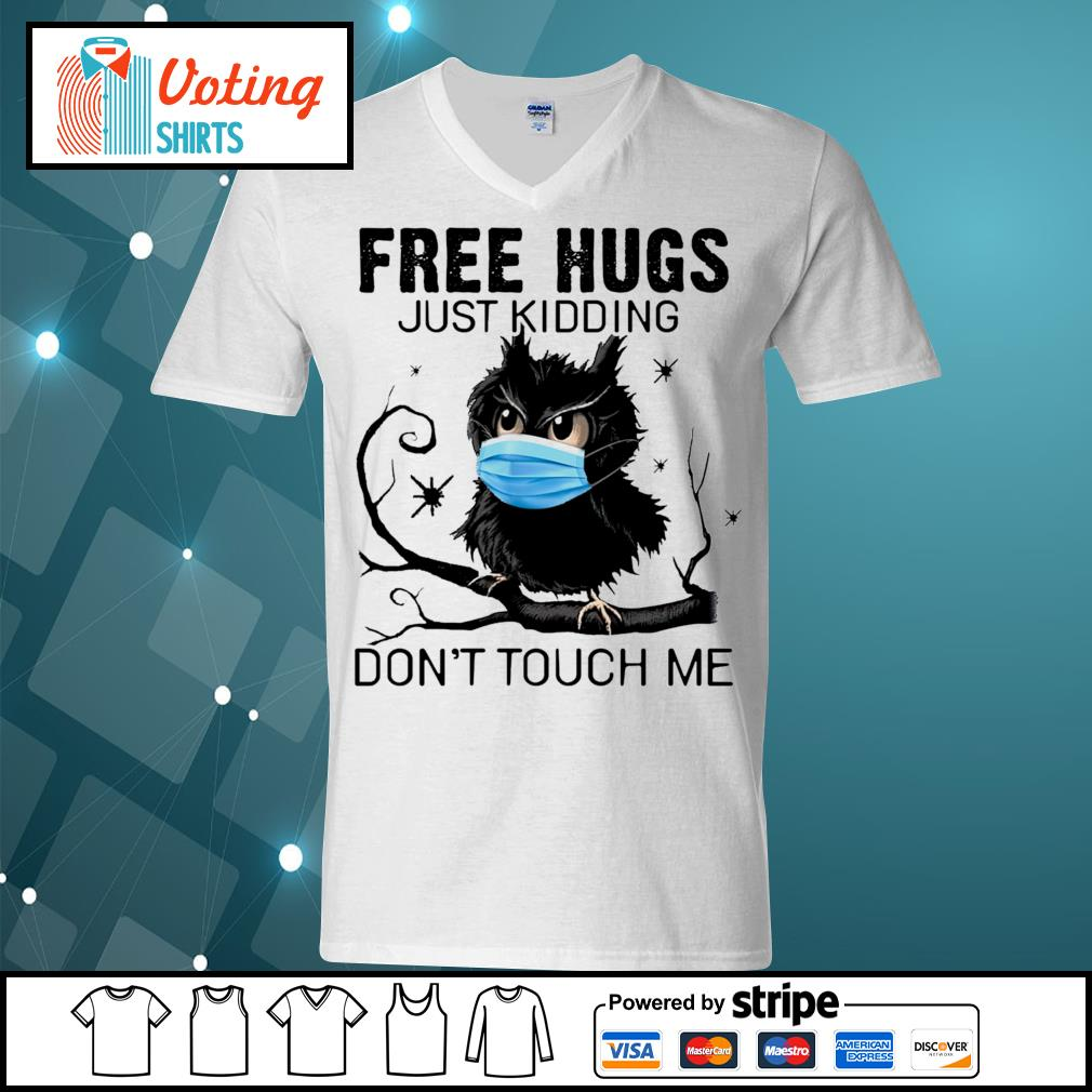 Owl free hugs just kidding don_t touch me s v-neck-t-shirt