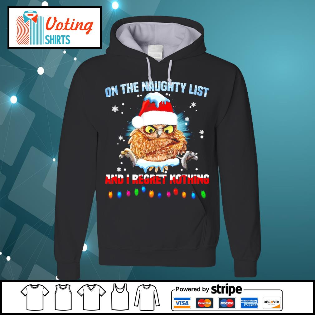 Owl on the naughty list and I regret nothing Christmas s hoodie