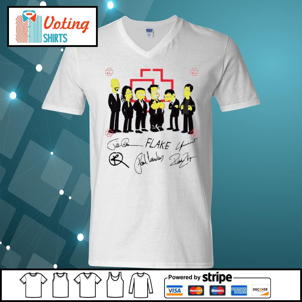 Rammstein Simpsons style signatures s v-neck-t-shirt
