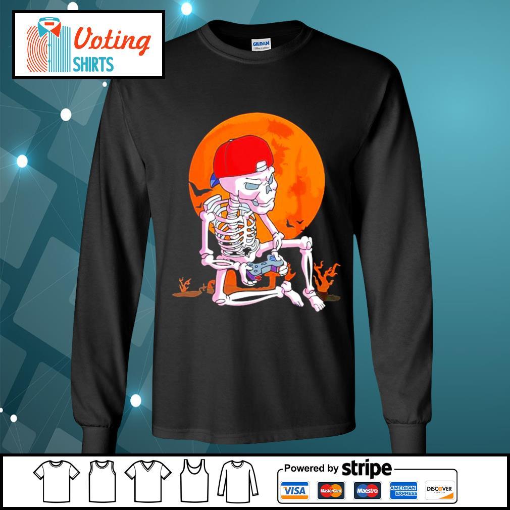 Skeleton boys gamer Halloween s longsleeve-tee