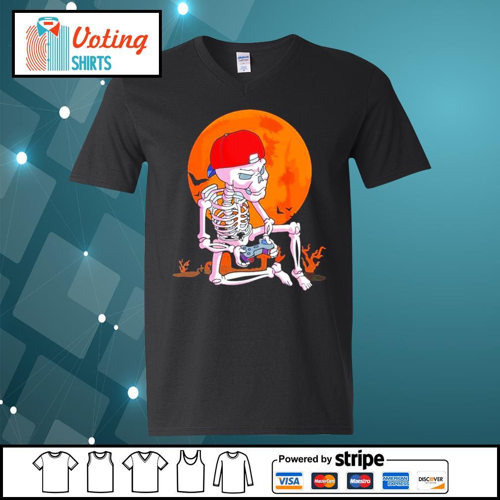 Skeleton boys gamer Halloween s v-neck-t-shirt