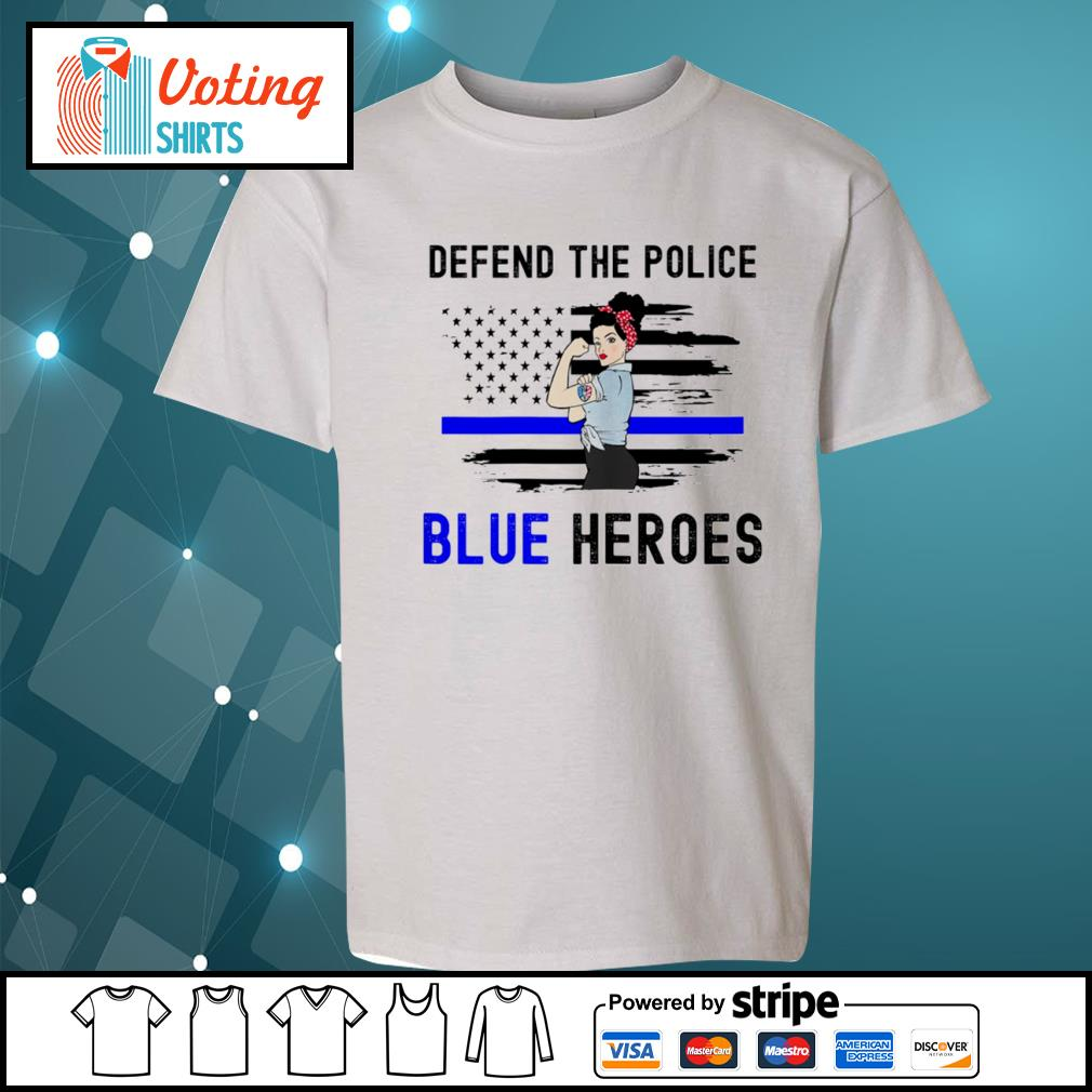 Strong woman defend the police blue heroes s youth-tee