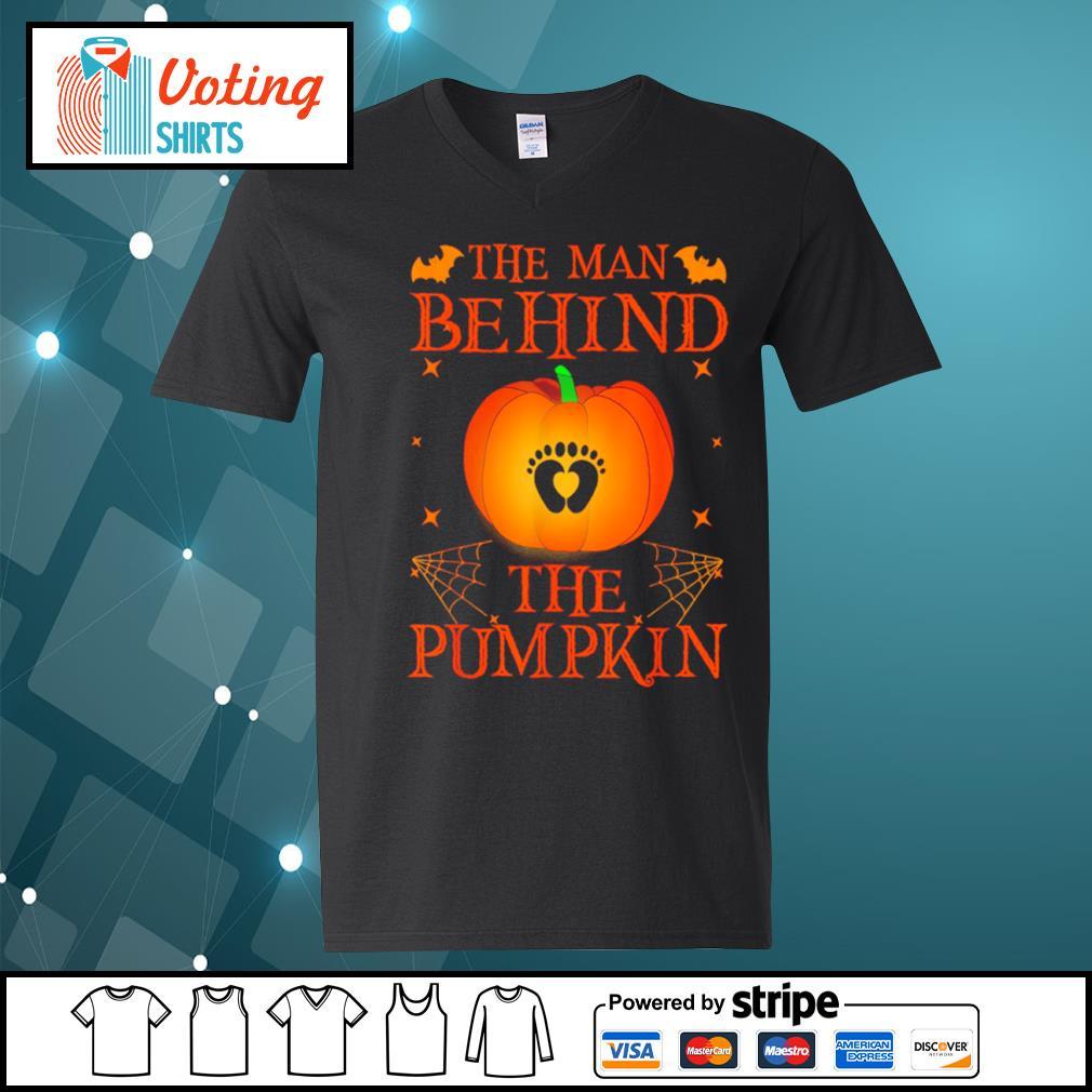 The man behind the pumpkin Halloween s v-neck-t-shirt