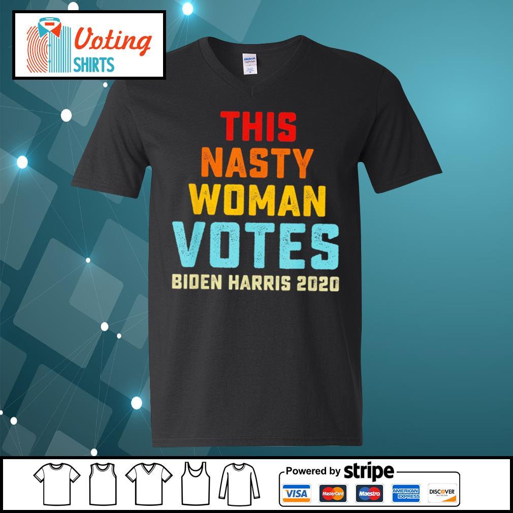 This nasty woman votes Biden Harris 2020 vintage s v-neck-t-shirt