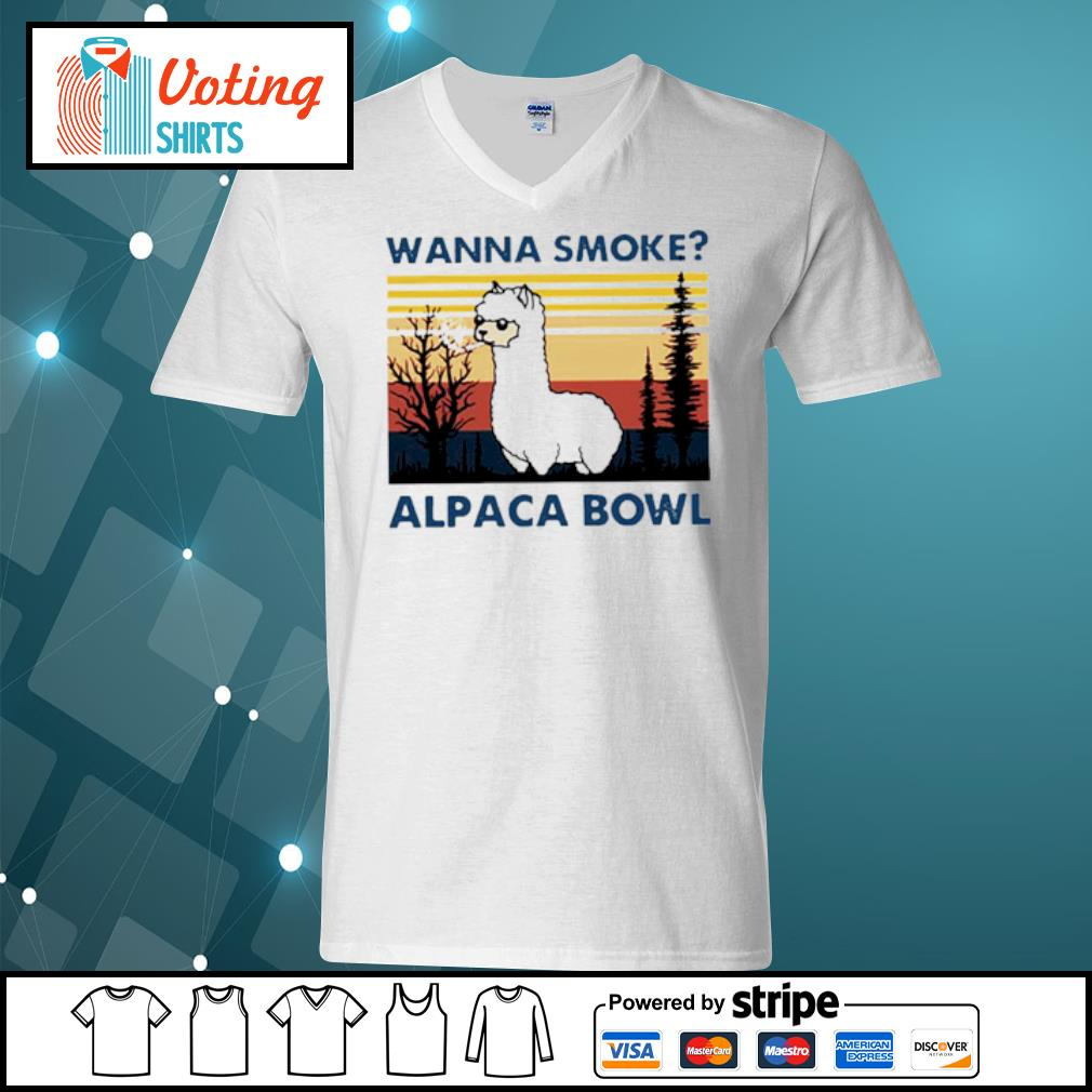 Wanna smoke alpaca bowl vintage s v-neck-t-shirt
