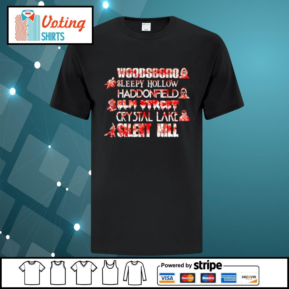 Woodsboro sleepy hollow Haddonfield elm street crystal lake silent hill Halloween shirt