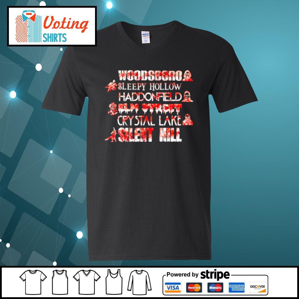 Woodsboro sleepy hollow Haddonfield elm street crystal lake silent hill Halloween s v-neck-t-shirt