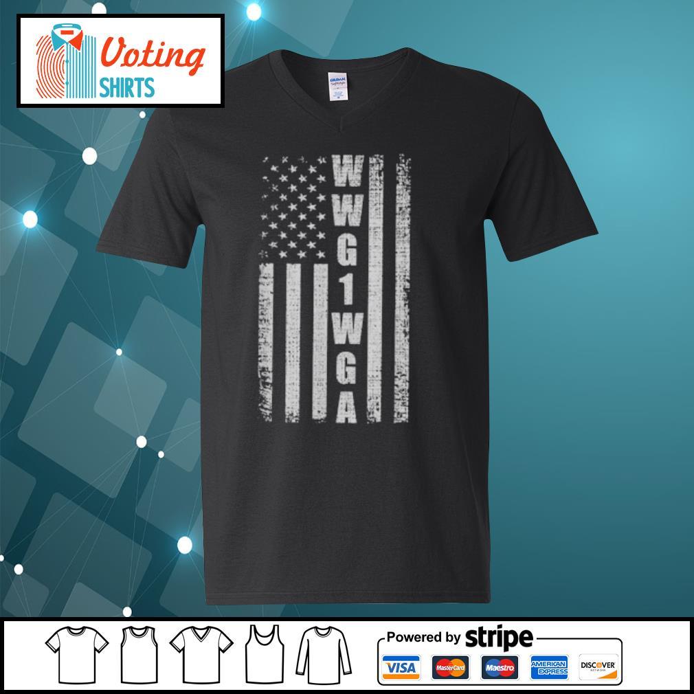 WWG1WGA US flag retro s v-neck-t-shirt